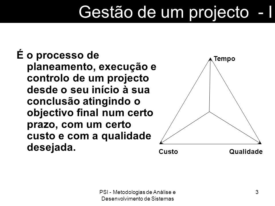 PSI - Metodologias de Análise e Desenvolvimento de Sistemas 4 Gestão de um projecto - II Etapas a seguir na gestão de projectos: Planeamento (enumera as acções a tomar); Organização; Coordenação; Avaliação; Controlo.