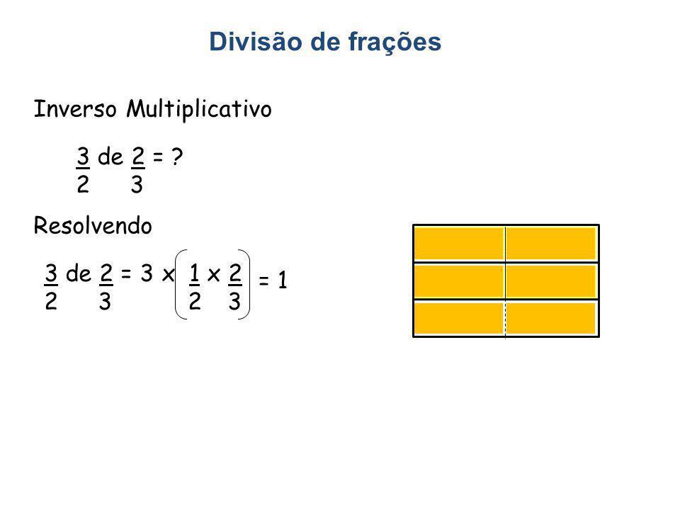 Divisão de frações Inverso Multiplicativo 3 de 2 = ? 2 3 Resolvendo 3 de 2 = 3 x 1 x 2 2 3 = 1