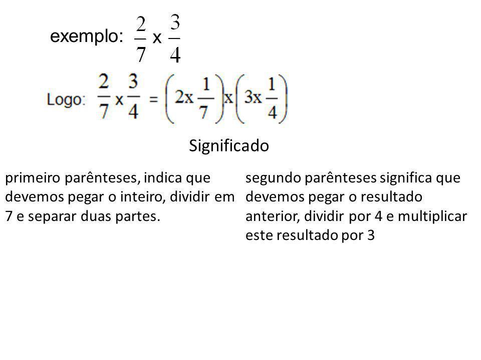 todo Todo dividido por 7 Duas partes do todo que foi dividido em 7 Resultado dividido em 4 e pegando-se 1 parte O resultado anterior, multiplicado por 3