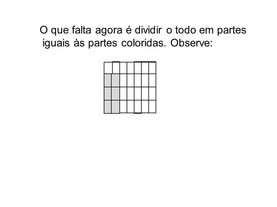 O que falta agora é dividir o todo em partes iguais às partes coloridas. Observe: