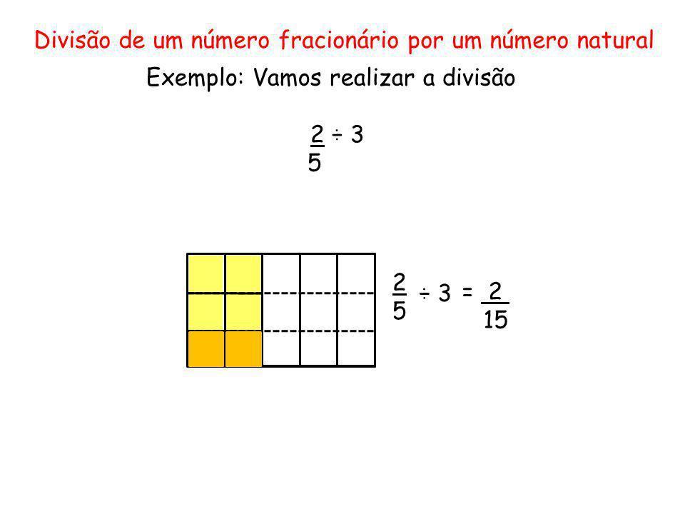 Divisão de um número fracionário por um número natural Exemplo: Vamos realizar a divisão 2 ÷ 3 5 2525 ÷ 3 = 2 15