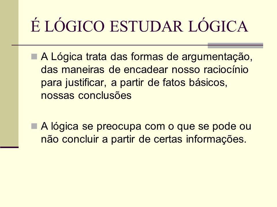 É LÓGICO ESTUDAR LÓGICA A Lógica trata das formas de argumentação, das maneiras de encadear nosso raciocínio para justificar, a partir de fatos básico