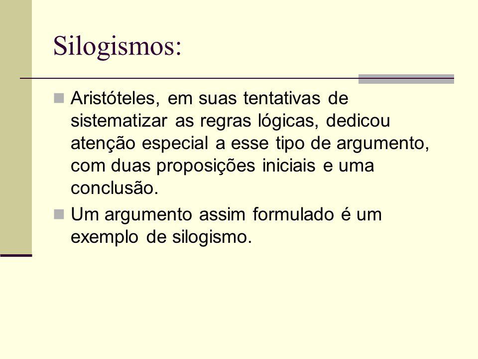 Silogismos: Aristóteles, em suas tentativas de sistematizar as regras lógicas, dedicou atenção especial a esse tipo de argumento, com duas proposições