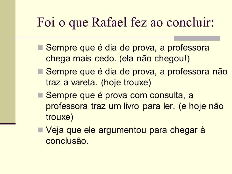Foi o que Rafael fez ao concluir: Sempre que é dia de prova, a professora chega mais cedo. (ela não chegou!) Sempre que é dia de prova, a professora n