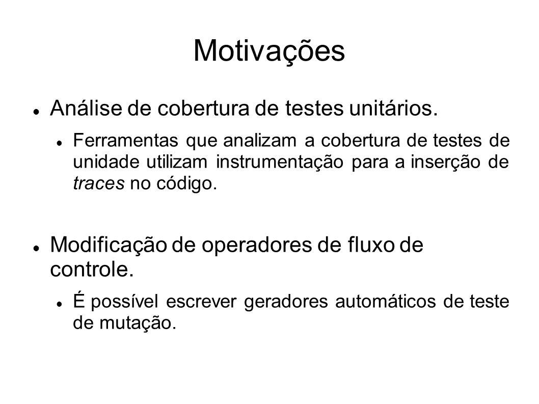 Motivações Análise de cobertura de testes unitários. Ferramentas que analizam a cobertura de testes de unidade utilizam instrumentação para a inserção