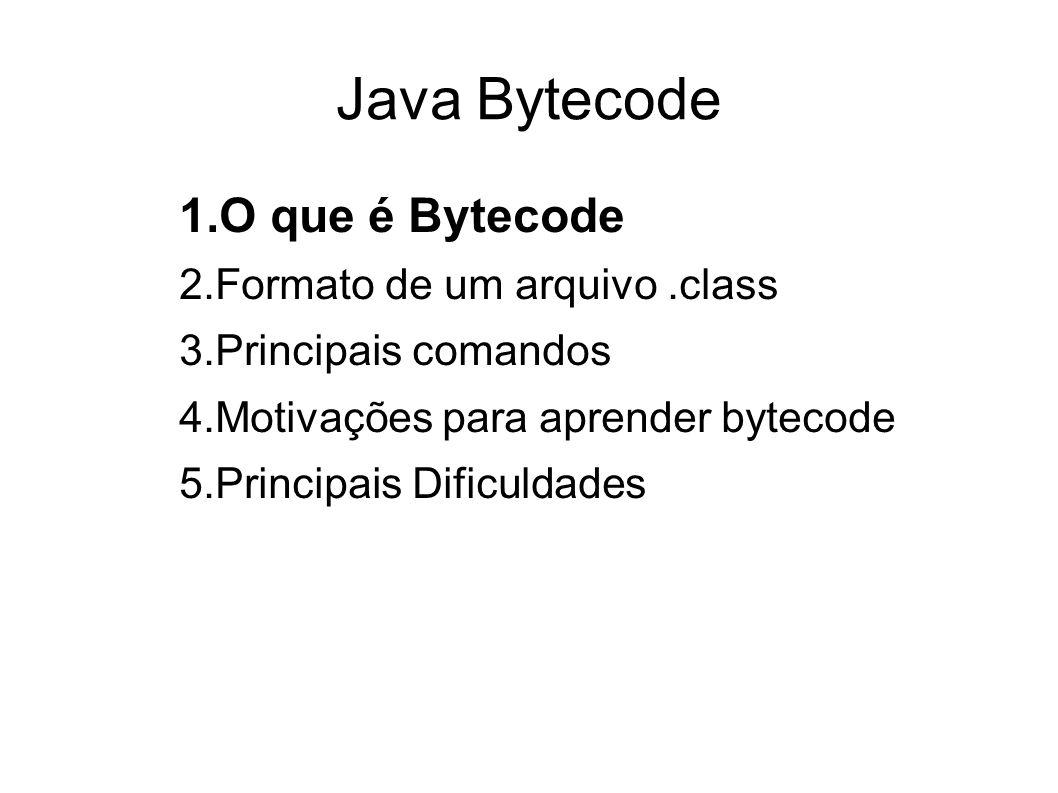 Passos de Compilação de Java A compilação de um código java segue os seguintes passos: Recebe um código Java (alto nível).