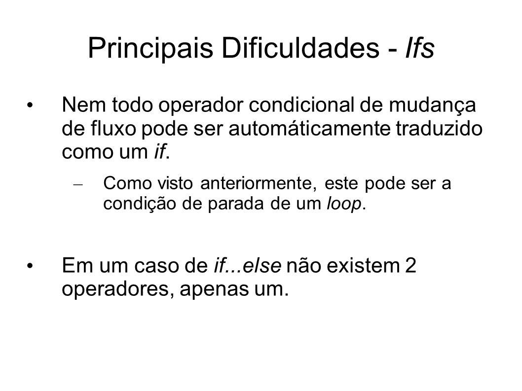 Principais Dificuldades - Ifs Nem todo operador condicional de mudança de fluxo pode ser automáticamente traduzido como um if. – Como visto anteriorme