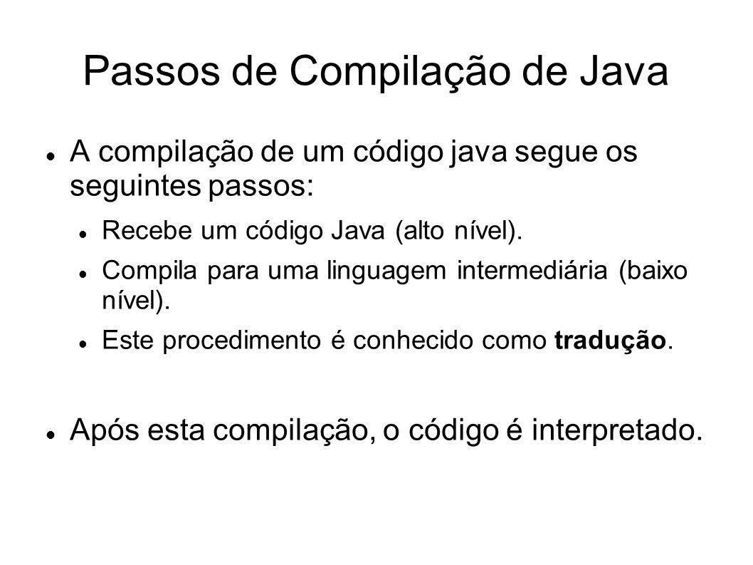 Passos de Compilação de Java A compilação de um código java segue os seguintes passos: Recebe um código Java (alto nível). Compila para uma linguagem