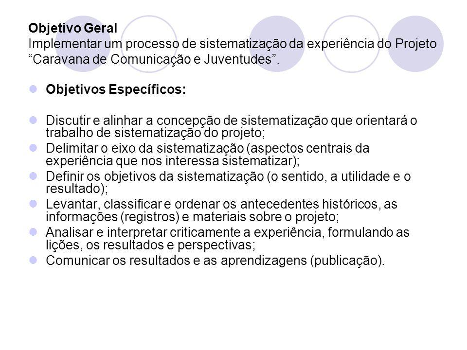 Objetivo Geral Implementar um processo de sistematização da experiência do Projeto Caravana de Comunicação e Juventudes .