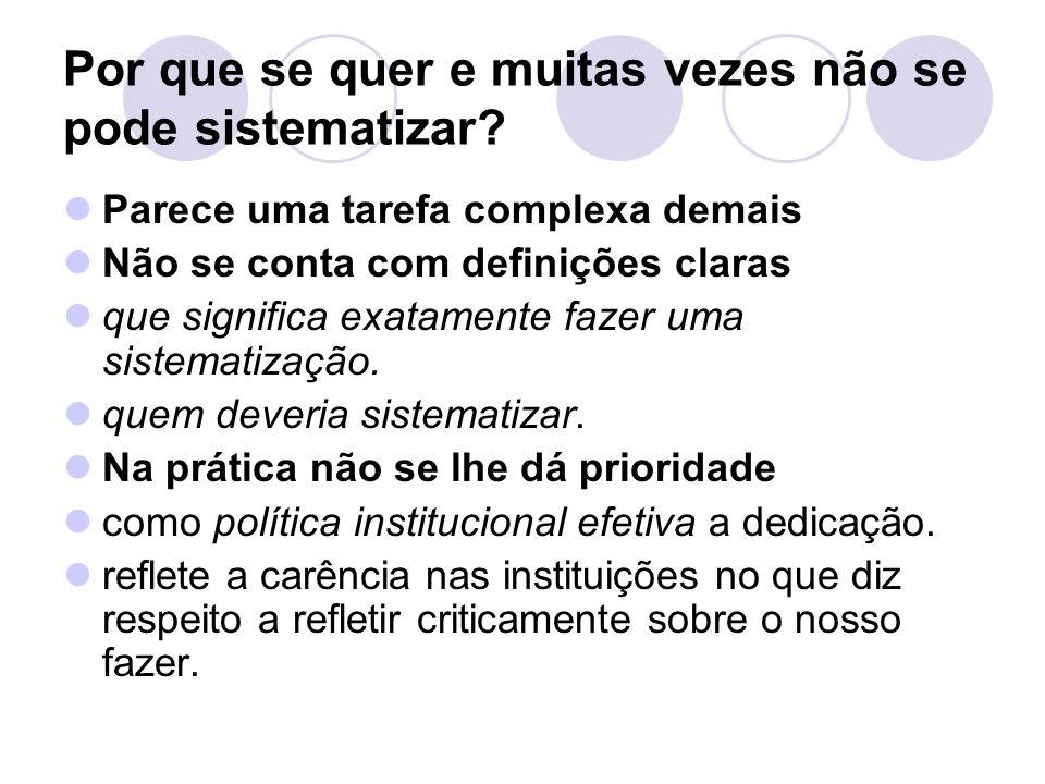 Encontros e desencontros das propostas de sistematização Para Diego Palma no seu texto: A sistematização como estratégia de conhecimento na educação popular.