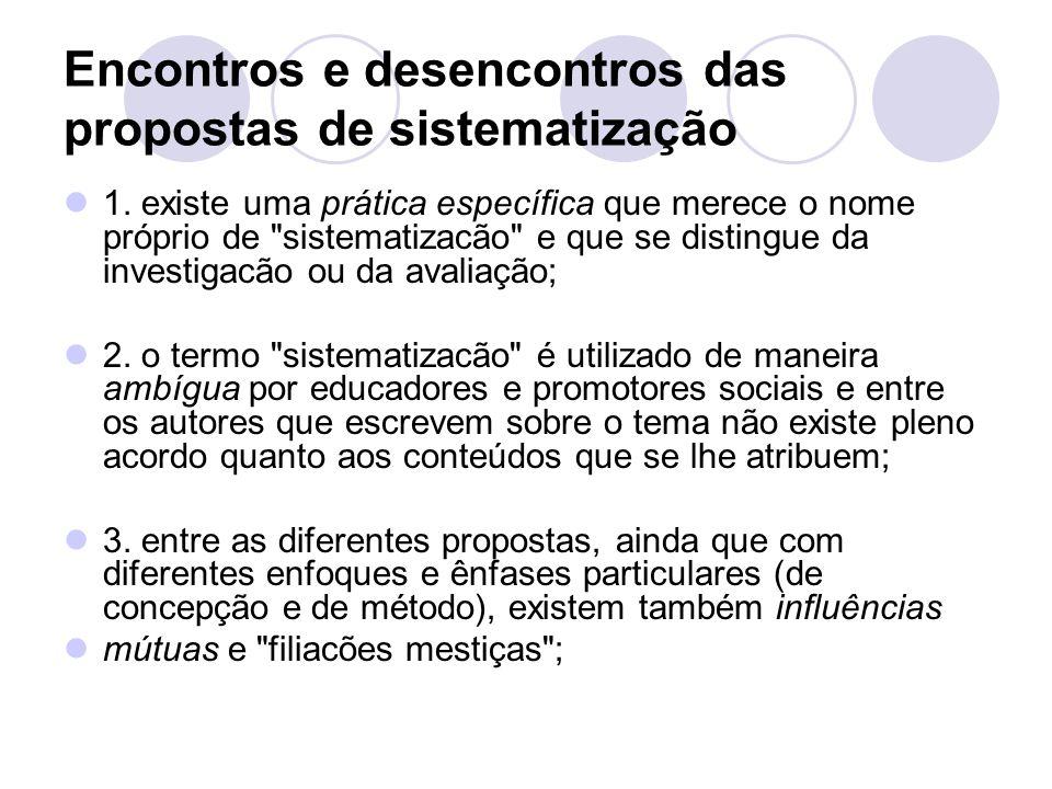 Encontros e desencontros das propostas de sistematização 1.