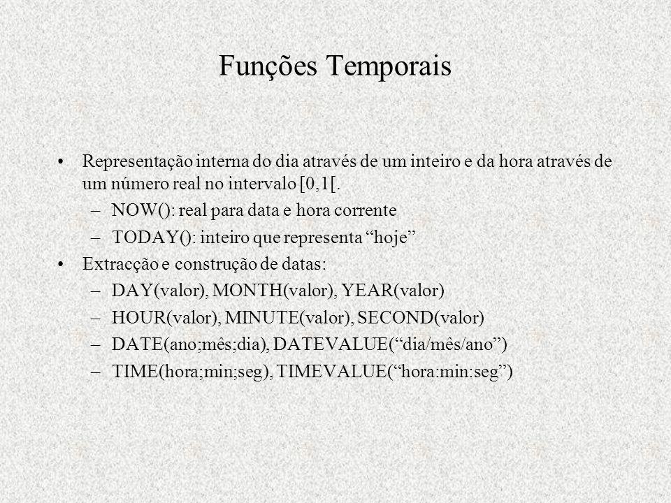 Funções Temporais Representação interna do dia através de um inteiro e da hora através de um número real no intervalo [0,1[.