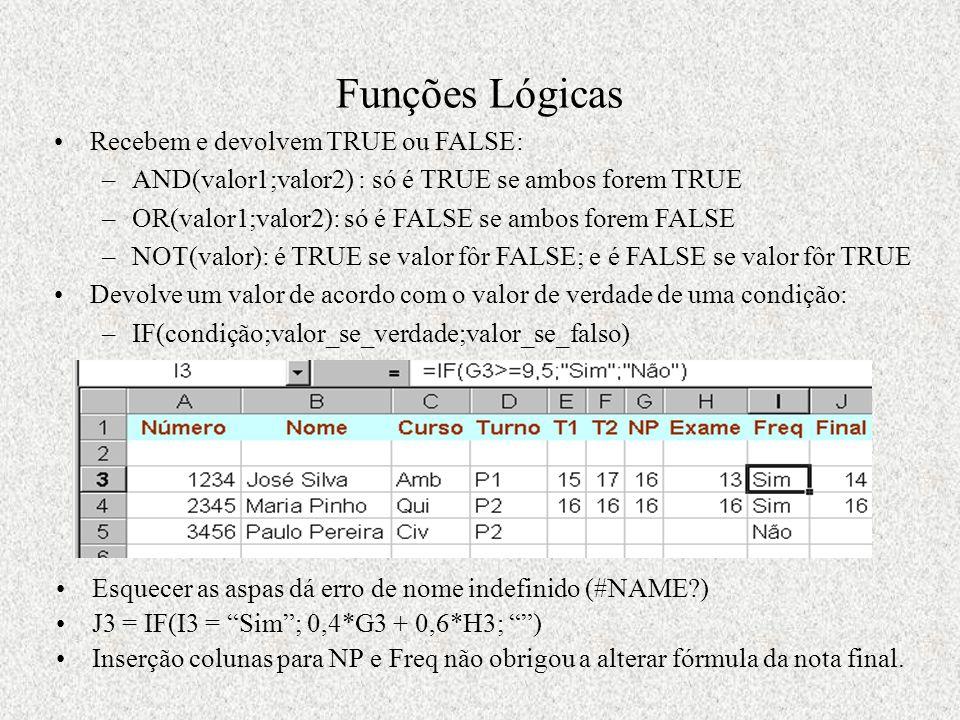 Funções Lógicas Esquecer as aspas dá erro de nome indefinido (#NAME?) J3 = IF(I3 = Sim ; 0,4*G3 + 0,6*H3; ) Inserção colunas para NP e Freq não obrigou a alterar fórmula da nota final.