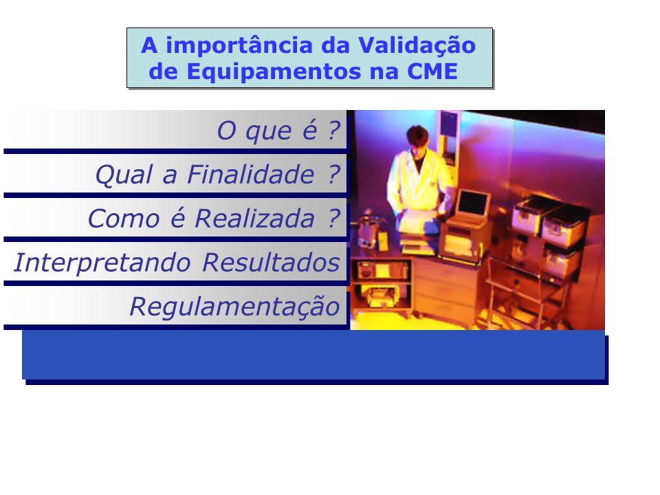 O que é ? Qual a Finalidade ? Como é Realizada ? Interpretando Resultados Regulamentação A importância da Validação de Equipamentos na CME