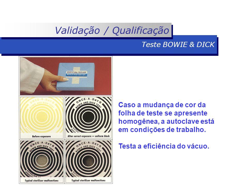 Caso a mudança de cor da folha de teste se apresente homogênea, a autoclave está em condições de trabalho.