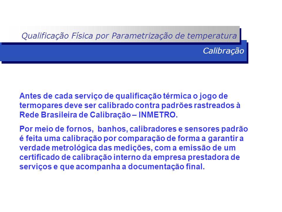 Calibração Antes de cada serviço de qualificação térmica o jogo de termopares deve ser calibrado contra padrões rastreados à Rede Brasileira de Calibr