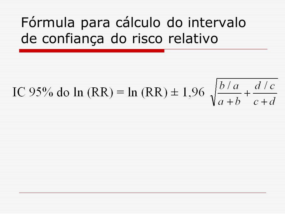 Fórmula para cálculo do intervalo de confiança do risco relativo