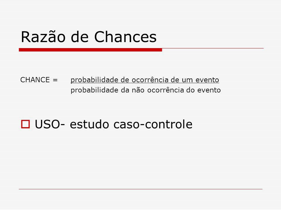 Razão de Chances CHANCE = probabilidade de ocorrência de um evento probabilidade da não ocorrência do evento  USO- estudo caso-controle