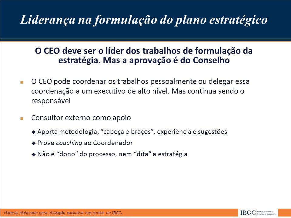 Material elaborado para utilização exclusiva nos cursos do IBGC. Liderança na formulação do plano estratégico O CEO pode coordenar os trabalhos pessoa