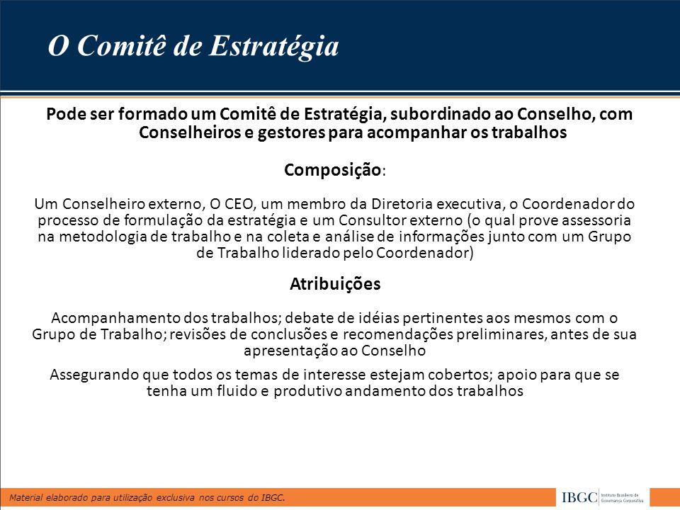 Material elaborado para utilização exclusiva nos cursos do IBGC. Pode ser formado um Comitê de Estratégia, subordinado ao Conselho, com Conselheiros e