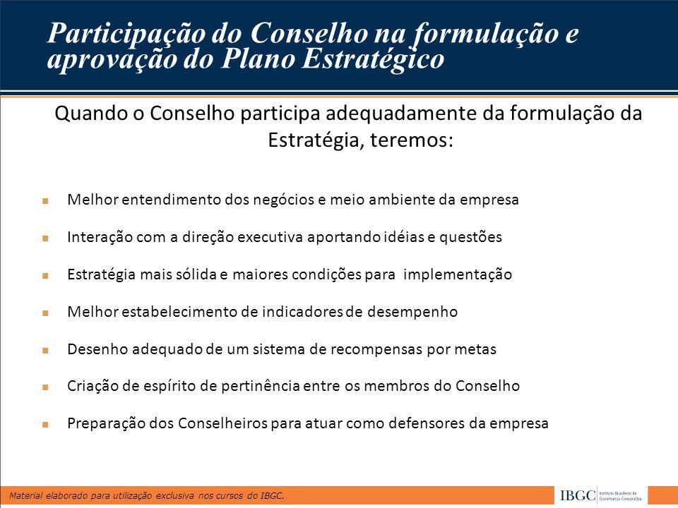 Material elaborado para utilização exclusiva nos cursos do IBGC. Quando o Conselho participa adequadamente da formulação da Estratégia, teremos: Melho