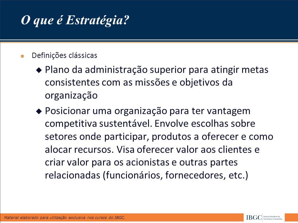 Material elaborado para utilização exclusiva nos cursos do IBGC. O que é Estratégia? Definições clássicas  Plano da administração superior para ating