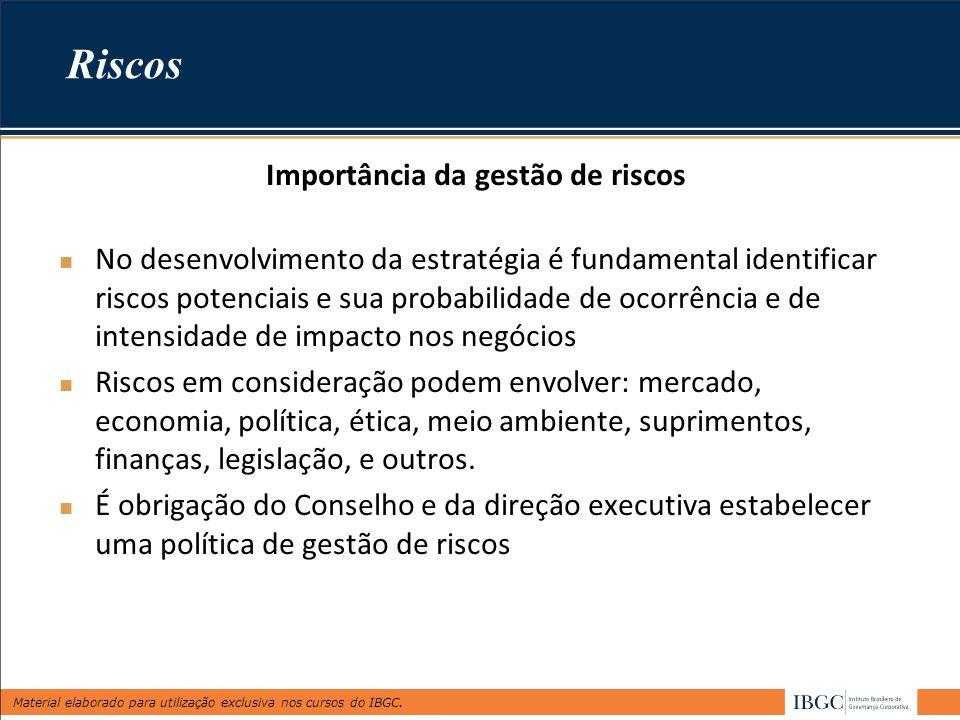 Material elaborado para utilização exclusiva nos cursos do IBGC. Riscos Importância da gestão de riscos No desenvolvimento da estratégia é fundamental