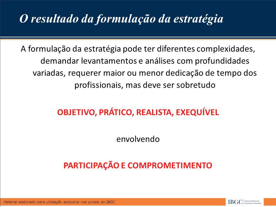 Material elaborado para utilização exclusiva nos cursos do IBGC. O resultado da formulação da estratégia A formulação da estratégia pode ter diferente