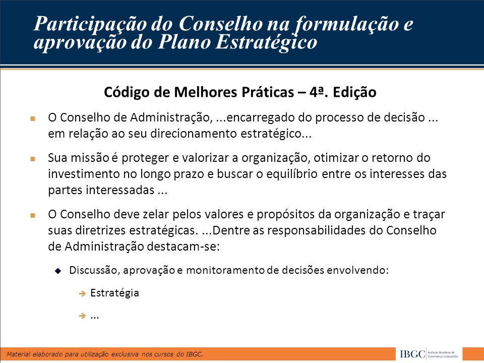 Material elaborado para utilização exclusiva nos cursos do IBGC. Participação do Conselho na formulação e aprovação do Plano Estratégico Código de Mel