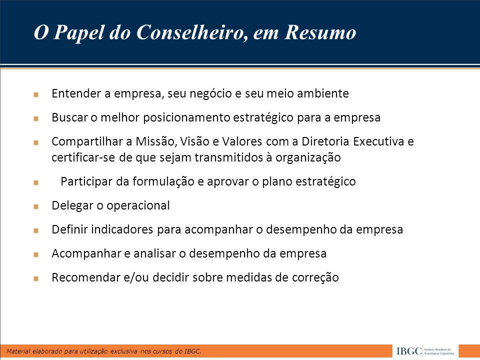 Material elaborado para utilização exclusiva nos cursos do IBGC. O Papel do Conselheiro, em Resumo Entender a empresa, seu negócio e seu meio ambiente