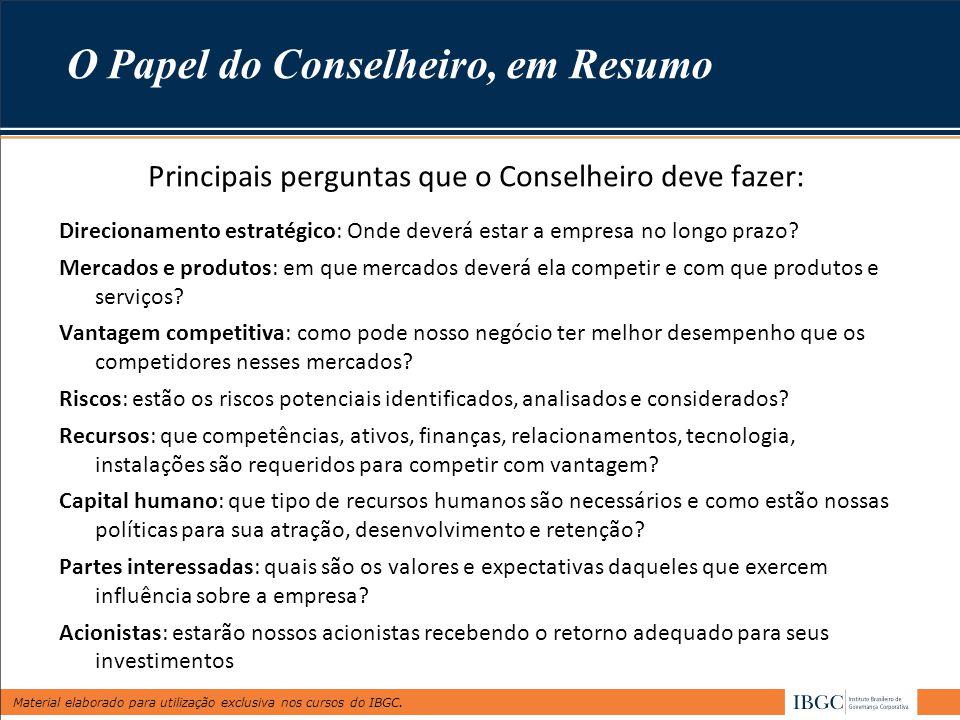 Material elaborado para utilização exclusiva nos cursos do IBGC. Principais perguntas que o Conselheiro deve fazer: Direcionamento estratégico: Onde d