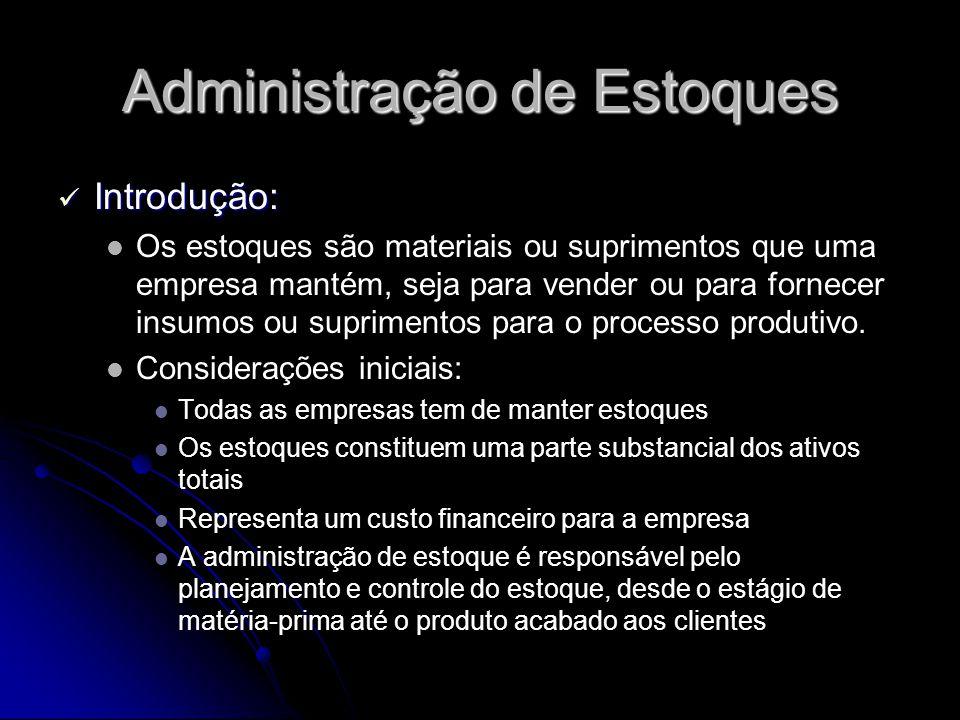 Administração de Estoques Introdução: Introdução: Os estoques são materiais ou suprimentos que uma empresa mantém, seja para vender ou para fornecer i