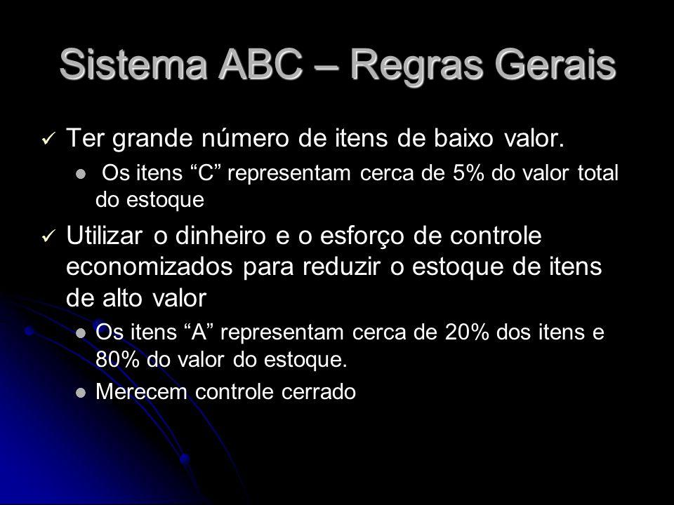 """Sistema ABC – Regras Gerais Ter grande número de itens de baixo valor. Os itens """"C"""" representam cerca de 5% do valor total do estoque Utilizar o dinhe"""