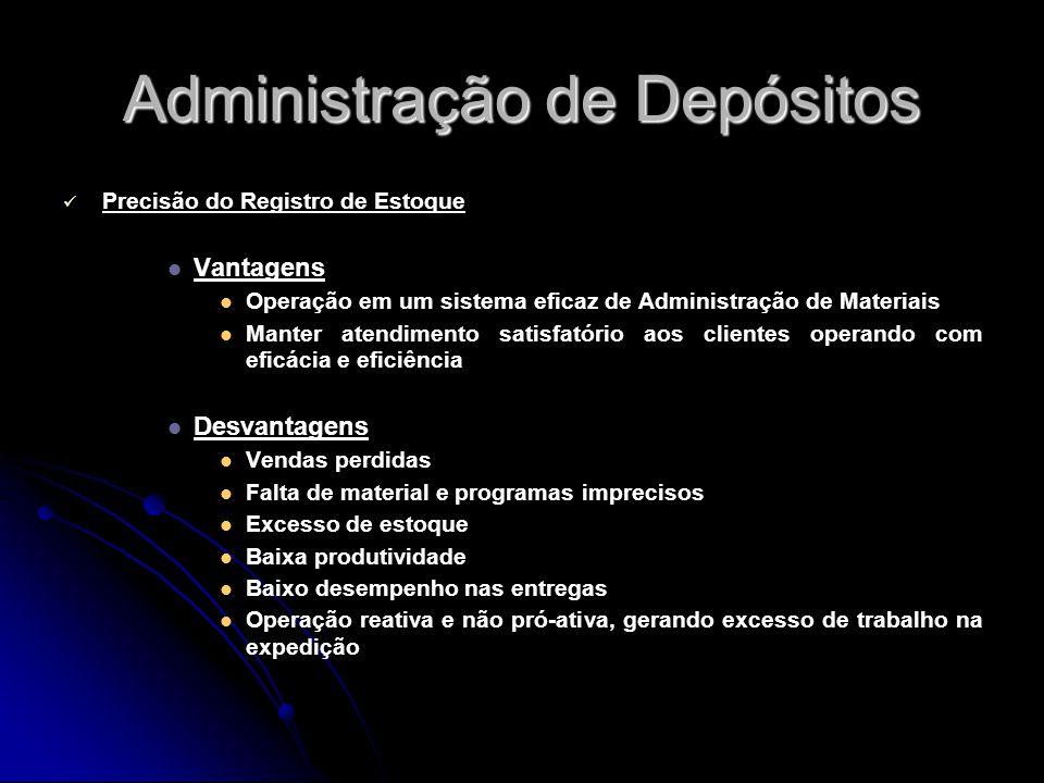 Administração de Depósitos Precisão do Registro de Estoque Vantagens Operação em um sistema eficaz de Administração de Materiais Manter atendimento sa