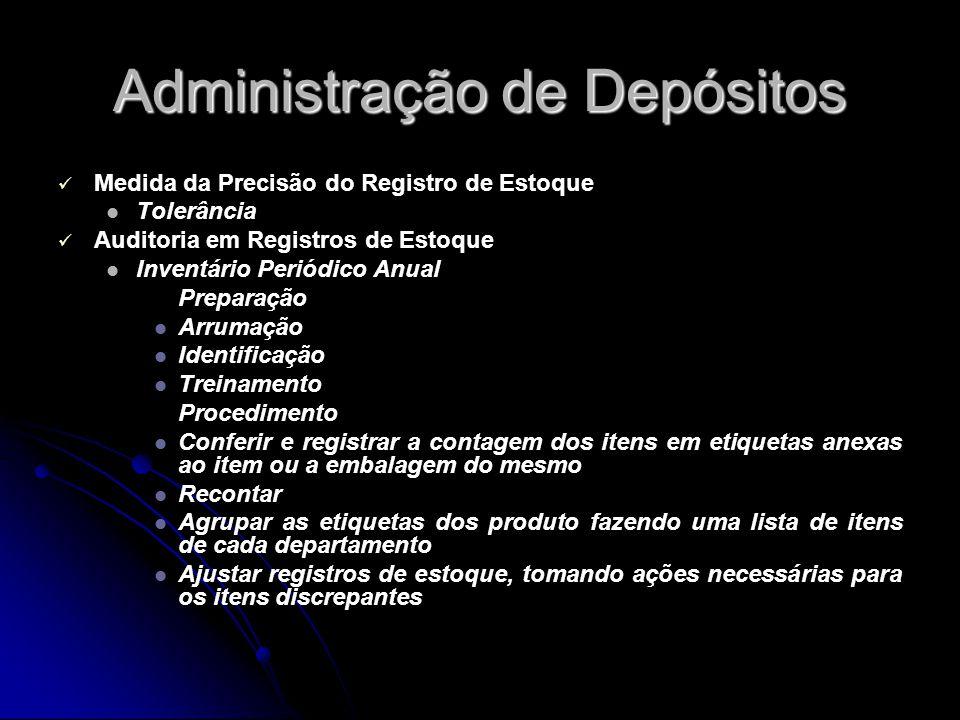 Administração de Depósitos Medida da Precisão do Registro de Estoque Tolerância Auditoria em Registros de Estoque Inventário Periódico Anual Preparaçã