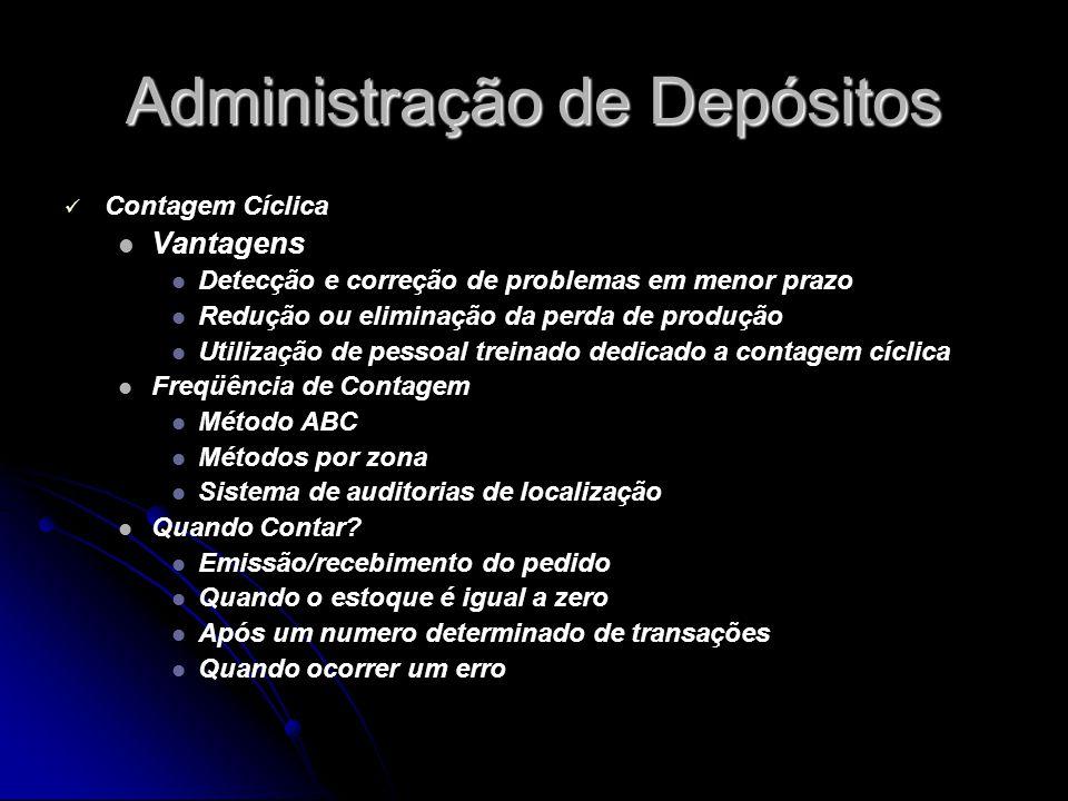 Administração de Depósitos Contagem Cíclica Vantagens Detecção e correção de problemas em menor prazo Redução ou eliminação da perda de produção Utili