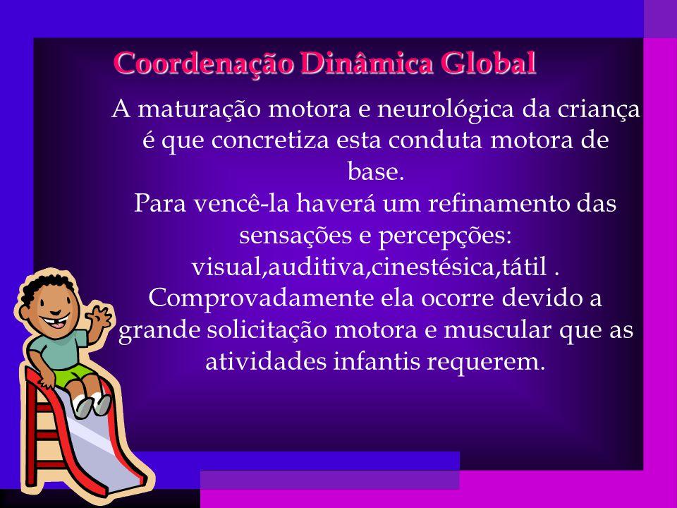 Coordenação Dinâmica Global A maturação motora e neurológica da criança é que concretiza esta conduta motora de base.