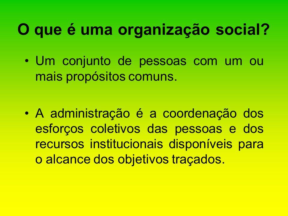 O que é uma organização social? Um conjunto de pessoas com um ou mais propósitos comuns. A administração é a coordenação dos esforços coletivos das pe