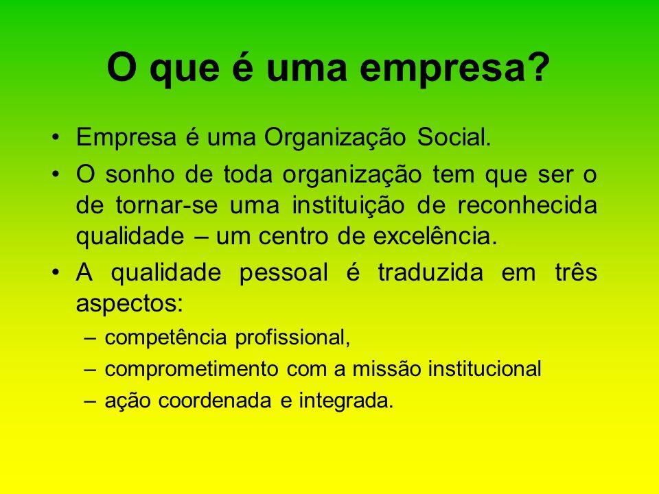 Empresa é uma Organização Social. O sonho de toda organização tem que ser o de tornar-se uma instituição de reconhecida qualidade – um centro de excel