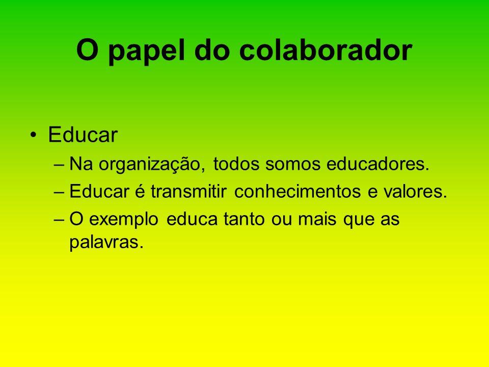 Educar –Na organização, todos somos educadores. –Educar é transmitir conhecimentos e valores. –O exemplo educa tanto ou mais que as palavras. O papel