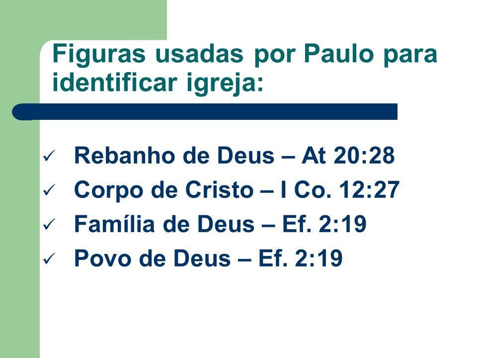 Figuras usadas por Paulo para identificar igreja: Rebanho de Deus – At 20:28 Corpo de Cristo – I Co.