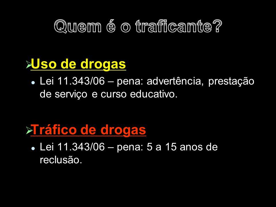   Uso de drogas Lei 11.343/06 – pena: advertência, prestação de serviço e curso educativo.   Tráfico de drogas Lei 11.343/06 – pena: 5 a 15 anos d