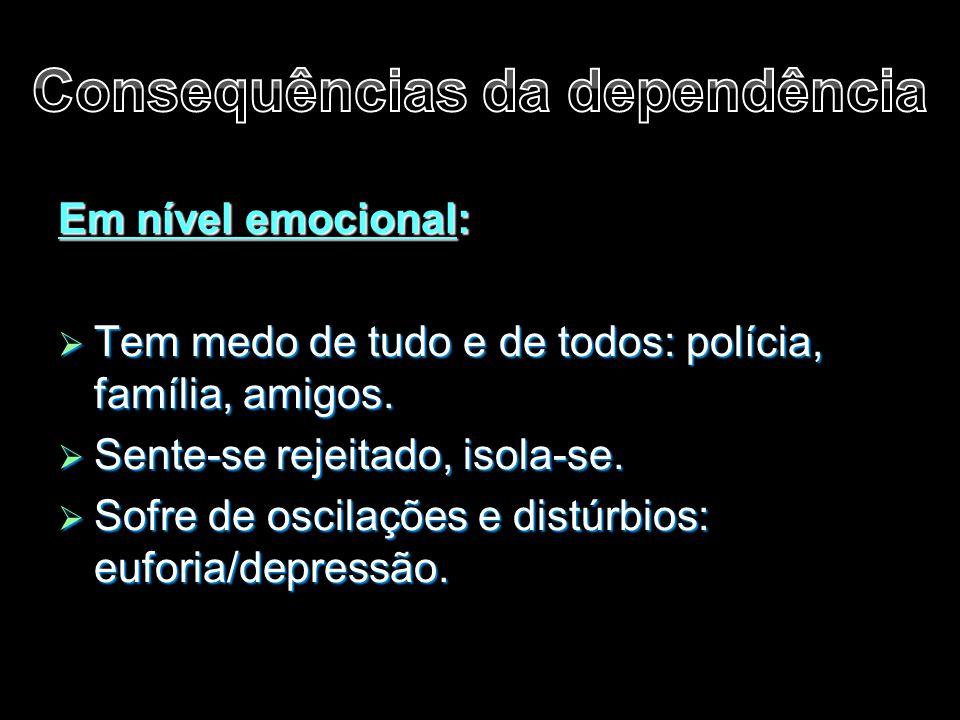 Em nível emocional:  Tem medo de tudo e de todos: polícia, família, amigos.  Sente-se rejeitado, isola-se.  Sofre de oscilações e distúrbios: eufor