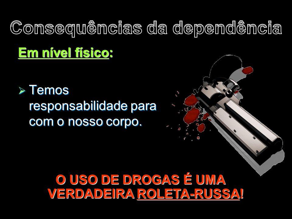 Em nível físico:  Temos responsabilidade para com o nosso corpo. O USO DE DROGAS É UMA VERDADEIRA ROLETA-RUSSA!