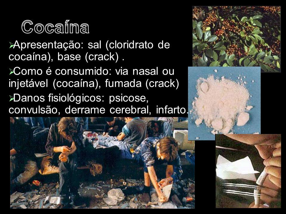  Apresentação: sal (cloridrato de cocaína), base (crack).  Como é consumido: via nasal ou injetável (cocaína), fumada (crack)  Danos fisiológicos: