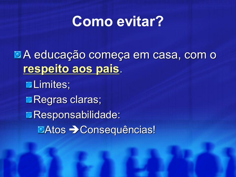 A educação começa em casa, com o respeito aos pais. Limites; Regras claras; Responsabilidade: Atos  Consequências! Como evitar?