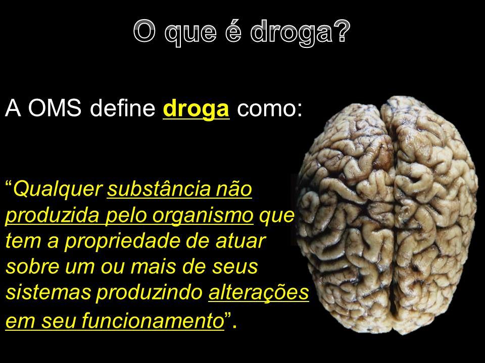 """A OMS define droga como: """"Qualquer substância não produzida pelo organismo que tem a propriedade de atuar sobre um ou mais de seus sistemas produzindo"""