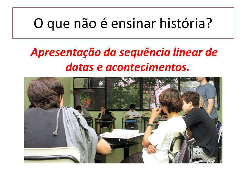 O que não é ensinar história? Apresentação da sequência linear de datas e acontecimentos.