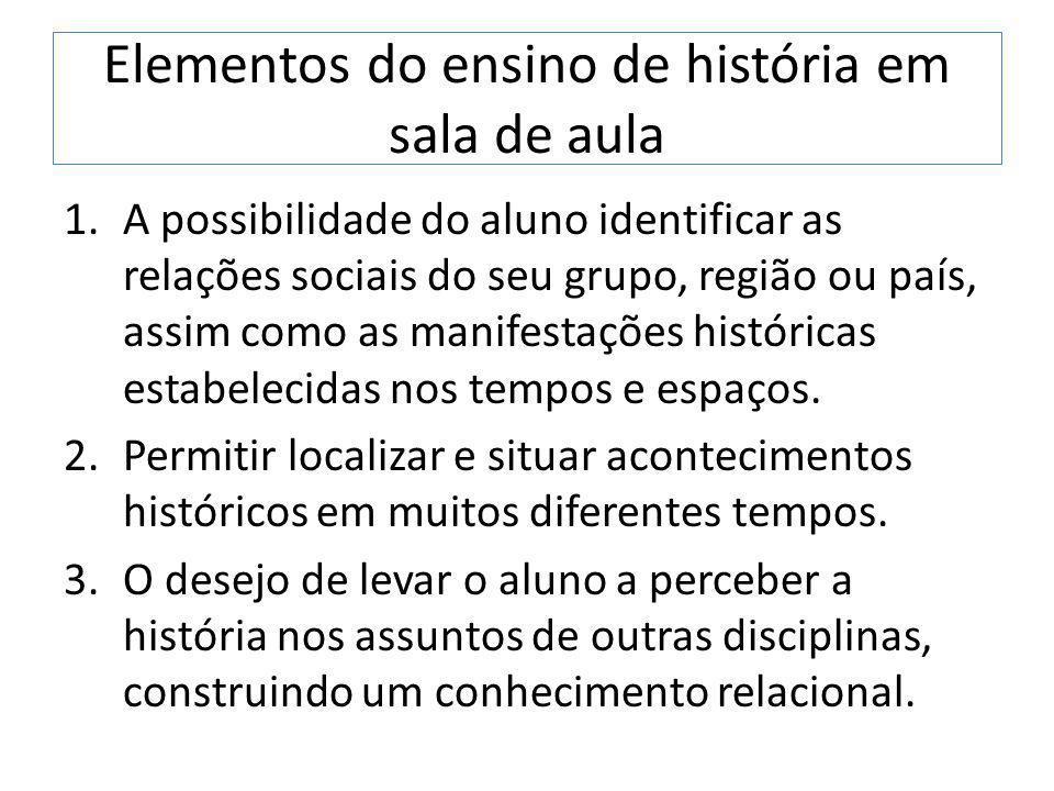 Elementos do ensino de história em sala de aula 1.A possibilidade do aluno identificar as relações sociais do seu grupo, região ou país, assim como as