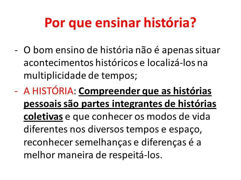 Por que ensinar história? -O bom ensino de história não é apenas situar acontecimentos históricos e localizá-los na multiplicidade de tempos; -A HISTÓ